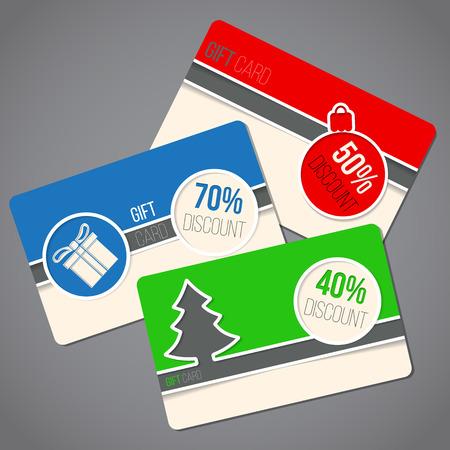 Kolorowe Christmas gift card zestaw trzech