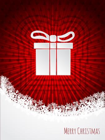 Red christmas greeting card design with bursting christmas giftbox