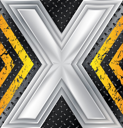 Abstract industrial metallic plate background with huge X sign