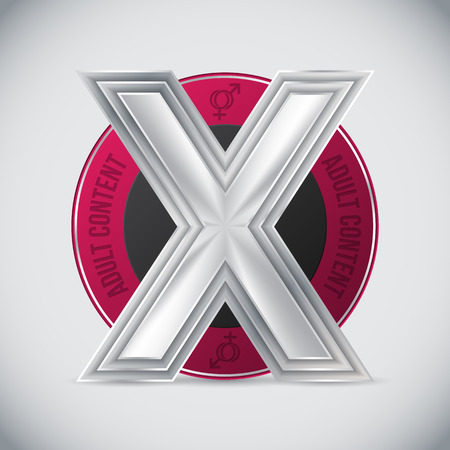 pornography: Pink adult content badge design with huge metallic triple X in center