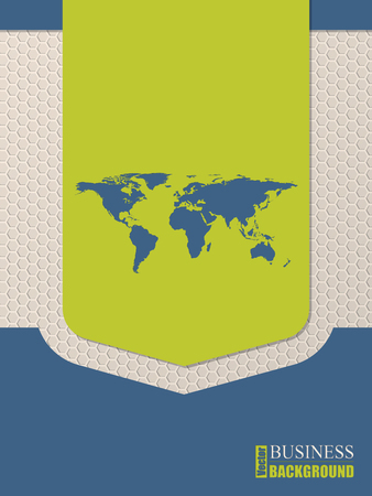 world  hexagon: Flat style world map brochure design with hexagon background Illustration