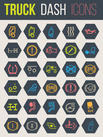Colorful icon set of thirty for truck dashboards 4