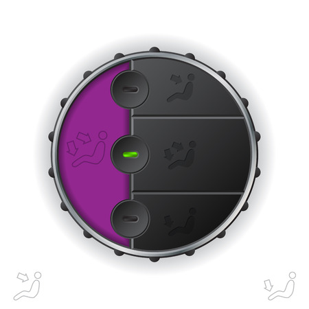 recirculate: Car clima air flow control with purple lcd Illustration