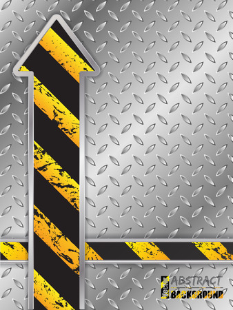 hazard stripes: Abstract metallic plate background with grunge striped arrow
