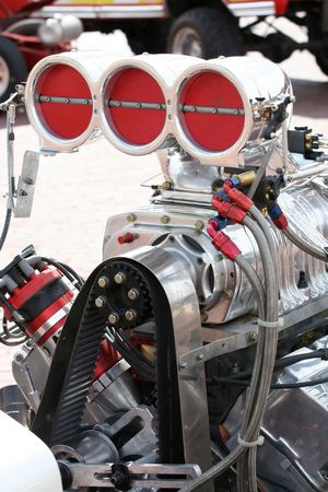 A large supercharged engine in a tractor used in tractor pulls. Stock fotó