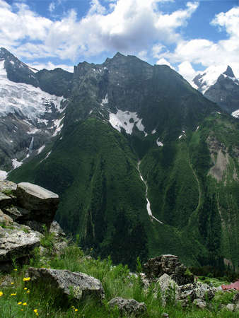 dombay: View on the mountains of North Caucasus. North Caucasus is the highest mountain range in Europe. Stock Photo