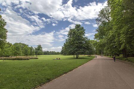Garden tete d or Parc de la Tete dOr in Lyon, France. Garden named by Gold Head for tresor. Park of the golden head in Lyon, France.