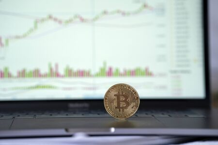 Bitcoin cryptocurrency.Worldwide virtual internet money. Bitcoin BTC stock exchange trading background concept. Analyzing stock market investments with financial dashboard,business intelligence graph Reklamní fotografie