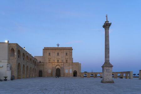 Sunset at Santa Maria di Leuca. Santa Maria di Leuca, Colonna Corinzia - Salento, Lecce, Apulia, Italy . Religious symbol, crucifix, cross - Immagine