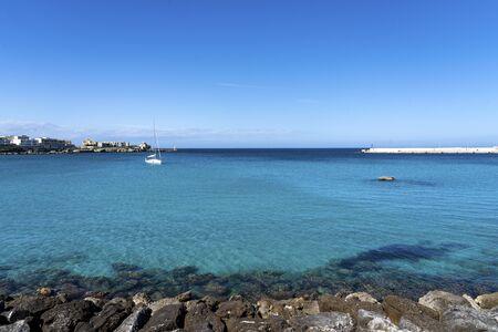 Beautiful Otranto bay, famous Italian city in Salento, Puglia. the beautiful beach bay of Otranto in Italy