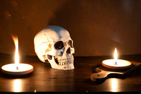 Occult cultures. human skull on wooden background with burning candles. Astrology, Occult, Magic photo. Occultures. idea for halloween