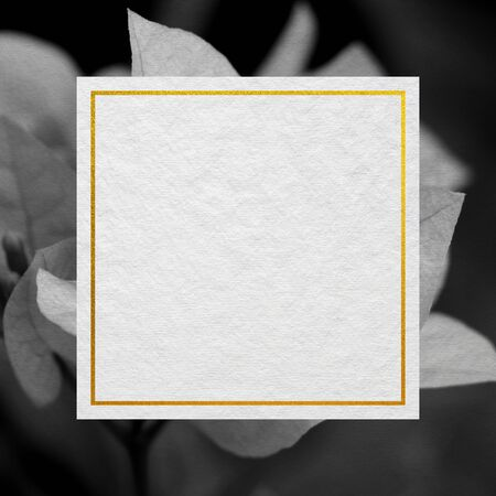 Premium Wedding invitation Template of bougainvillea flower with golden yellow frame. Wedding invitation, thank you card, save the date cards. Wedding invitation.
