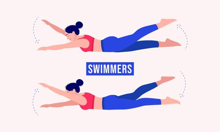 Girl doing Swimmers exercise, Woman workout fitness, aerobic and exercises. Vector Illustration.