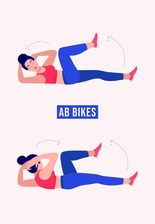 Girl doing AB Bikes exercise, Woman workout fitness, aerobic and exercises. Vector Illustration. Illustration