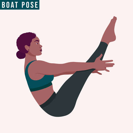 Young woman practicing Boat Pose/ Paripurna Navasana Yoga pose. Woman workout fitness, aerobic and exercises. Vector Illustration. Vettoriali