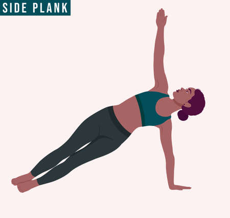 Young woman practicing Side Plank Pose/ Vasisthasana Yoga pose. Woman workout fitness, aerobic and exercises. Vector Illustration. Ilustrace