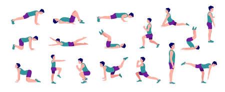 Workout men set. Men doing fitness and yoga exercises. Lunges, Pushups, Squats, Dumbbell rows, Burpees, Side planks, Situps, Glute bridge, Leg Raise, Russian Twist, Side Crunch, Mountain Climbers.etc Vector Illustratie