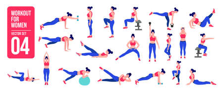Workout women set. Women fitness and yoga exercises. Lunges, Pushups, Squats, Dumbbell rows, Burpees, Side planks, Situps, Glute bridge, Leg Raise,  Russian Twist, Side Crunch, Mountain Climbers.etc