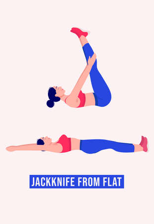 Jackknife From Flat exercise, Woman workout fitness, aerobic and exercises. Vector Illustration. Vektorové ilustrace