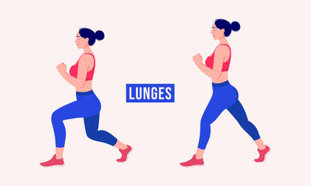 Lunges exercise, Women workout fitness, aerobic and exercises. Vector Illustration.