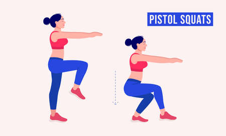 PISTOL SQUATS exercise, Woman workout fitness, aerobic and exercises. Vector Illustration. Vektorové ilustrace