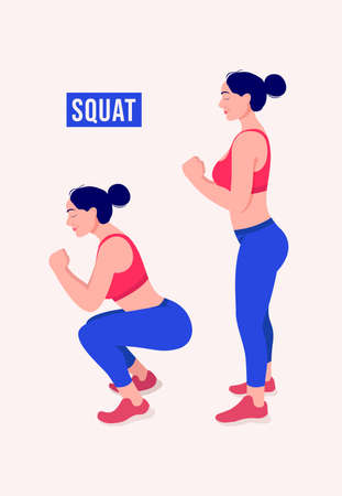 SQUAT exercise, Woman workout fitness, aerobic and exercises. Vector Illustration.