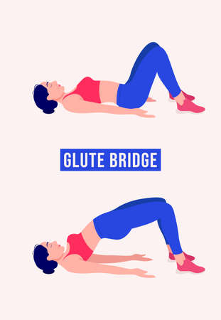 GLUTE BRIDGE exercise, Woman workout fitness, aerobic and exercises. Vector Illustration.