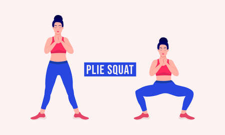 Plie-squat exercise, Woman workout fitness, aerobic and exercises. Vector Illustration.