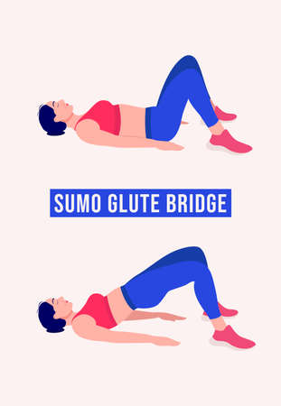 Sumo Glute Bridge exercise, Woman workout fitness, aerobic and exercises. Vector Illustration.
