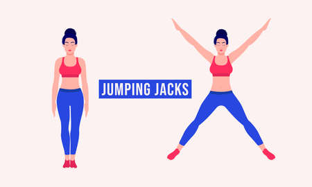 Jumping Jacks exercise, Woman workout fitness, aerobic and exercises. Vector Illustration. Vektorové ilustrace