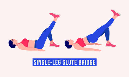 Single Leg Glute Bridge exercise, Woman workout fitness, aerobic and exercises. Vector Illustration. Vettoriali
