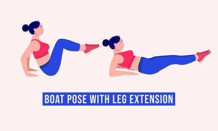 Boat Pose with Leg Extension exercise, Woman workout fitness, aerobic and exercises. Vector Illustration.
