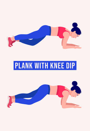 Plank with Knee Dip exercise, Woman workout fitness, aerobic and exercises. Vector Illustration.