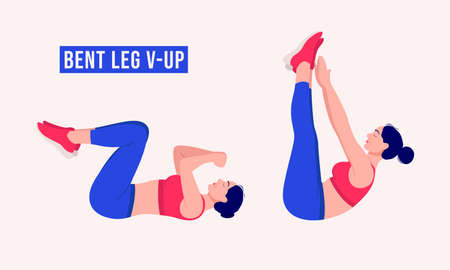 bent leg v-up exercise, Woman workout fitness, aerobic and exercises. Vector Illustration.