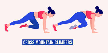 Cross Mountain Climbers exercise, Woman workout fitness, aerobic and exercises. Vector Illustration.