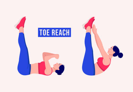 Toe Reach exercise, Woman workout fitness, aerobic and exercises. Vector Illustration.