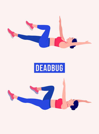 Deadbug exercise, Woman workout fitness, aerobic and exercises. Vector Illustration.