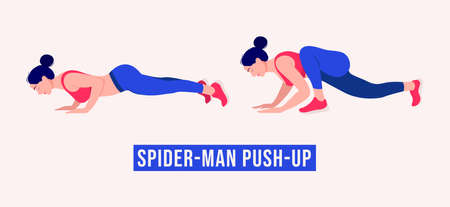 Spiderman Push Up exercise, Women workout fitness, aerobic and exercises. Vector Illustration. Vektorové ilustrace