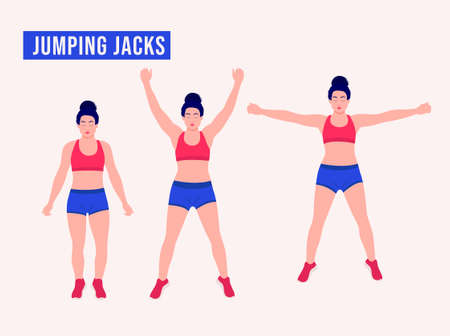 Jumping Jacks exercise, Women workout fitness, aerobic and exercises. Vector Illustration.