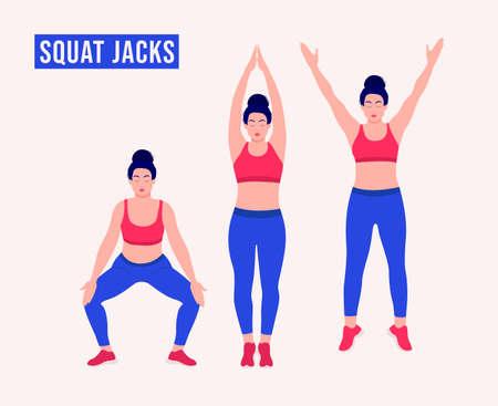 Squat Jacks exercise, Women workout fitness, aerobic and exercises. Vector Illustration. Vektorové ilustrace