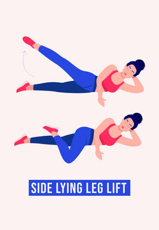 Side Lying Leg Lift exercise, Women workout fitness, aerobic and exercises. Vector Illustration.