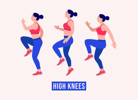 High Knees exercise, Women workout fitness, aerobic and exercises. Vector Illustration. Vektorové ilustrace