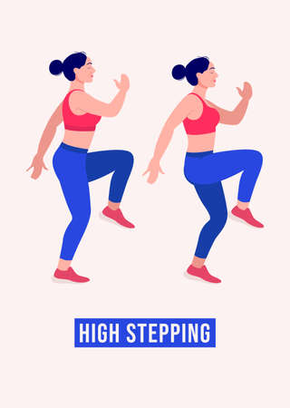 High stepping exercise, Women workout fitness, aerobic and exercises. Vector Illustration.