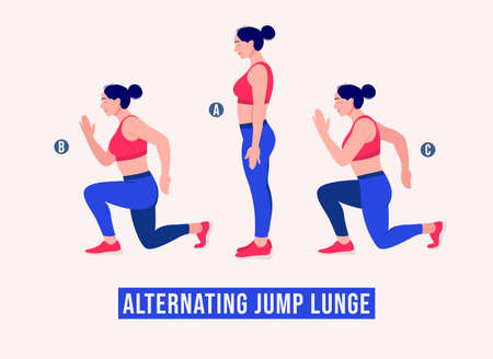 Alternating Jump Lunge exercise, Women workout fitness, aerobic and exercises. Vector Illustration.