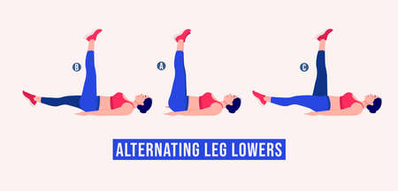 Alternating Leg Lowers exercise, Women workout fitness, aerobic and exercises. Vector Illustration.