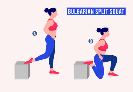 Bulgarian Split Squat exercise, Women workout fitness, aerobic and exercises. Vector Illustration.