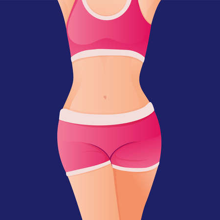 Perfect slim toned young body of the girl. sporty woman in sportswear, shorts butt icon for mobile apps, slim body, vector illustration.