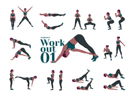 Workout Women set. Women doing fitness and yoga exercises. Lunges, Pushups, Squats, Dumbbell rows, Burpees, Side planks, Situps, Glute bridge, Leg Raise, Russian Twist, Side Crunch .etc