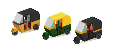 Isometric Auto Rickshaw vector illustration.
