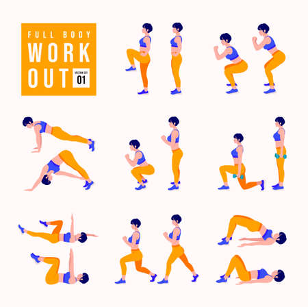 Full Body Workout Set. Women doing fitness and yoga exercises. Lunges, Pushups, Squats, Dumbbell rows, Burpees, Side planks, Situps, Glute bridge, Leg Raise, Russian Twist, Side Crunch .etc Ilustração